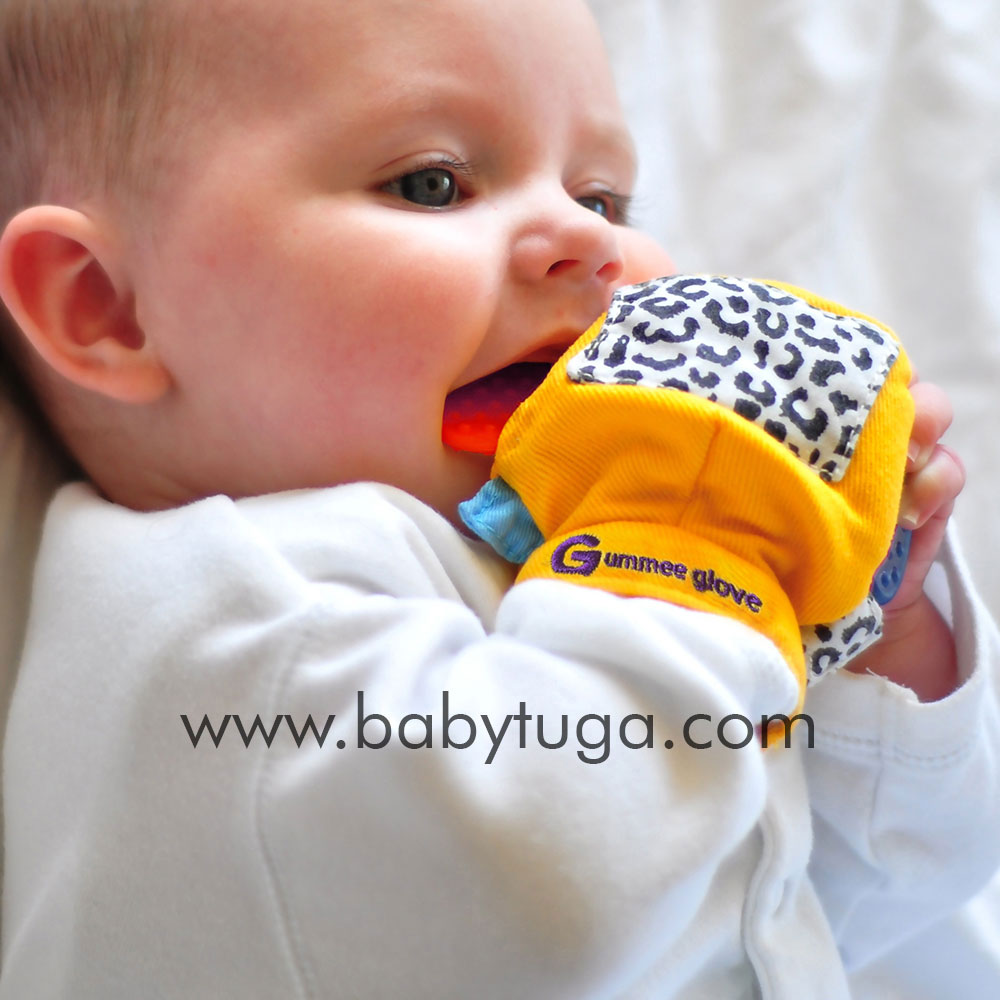 Original Gummee Glove Baby Teething Mitten Toy 3 To 6 Months Yellow